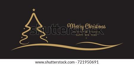 christmas tree stars greetings golden black background