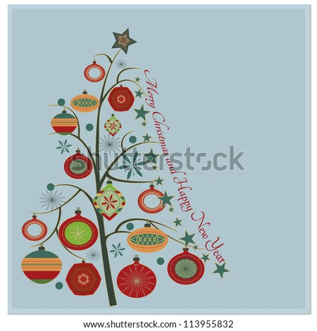 Christmas tree/Stylish retro Christmas tree with Merry Christmas and Happy New year greeting text