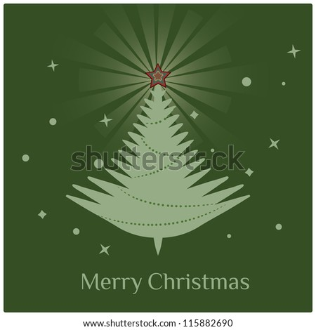 Christmas tree/Stylish retro Christmas tree with Merry Christmas greeting text
