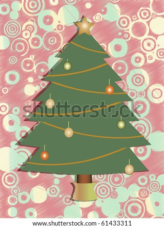Christmas Tree surrounded by abstract circle colorful background