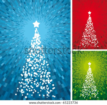 Christmas tree. Vector set of shine blue, green and red backgrounds