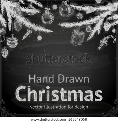 Christmas Tree with Balls and Gifts vector design Chalkboard style Chalk Texture