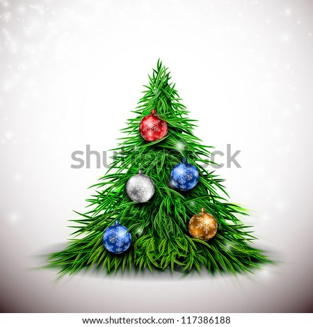 Christmas tree with balls. Eps 10 - stock vector