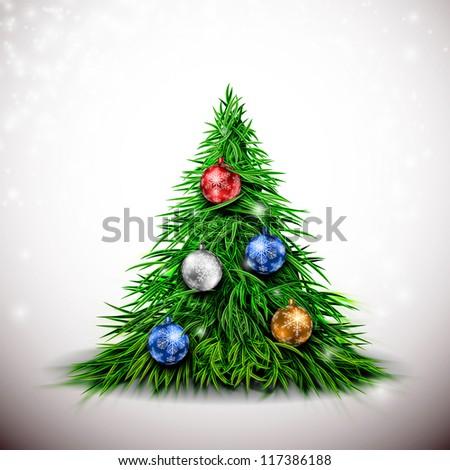Christmas tree with balls. Eps 10