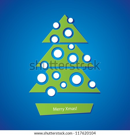 christmas tree with balls on blue background