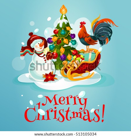 Christmas tree with bauble, lights and snow, gift box in santa sleigh, snowman with bag of present and rooster xmas greeting card design. Festive poster for winter holiday decoration #513105034