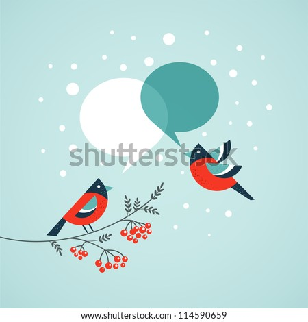 christmas tree with birds and