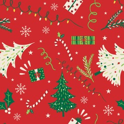Christmas tree with Christmas ornament with red and green color, vector illustration