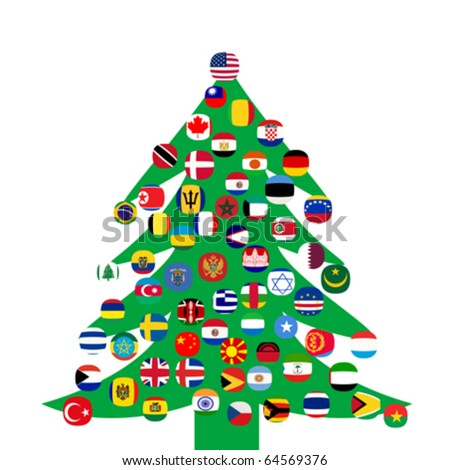 Christmas tree with country flags