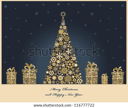 Christmas tree with cristmas gift boxes from golden snowflakes. Christmas decorations. Vector