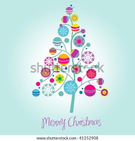 Christmas tree with cute and colorful decorations