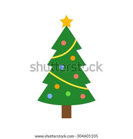 Christmas tree with decorations & star flat icon for apps and websites