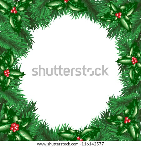 Christmas tree with holly berry leaves frame