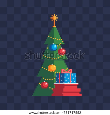 Christmas tree with presents bag. New Year greeting card design. Sticker design. Pixel icon. Isolated vector illustration
