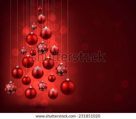 Christmas Tree With Red Balls Vector Illustration