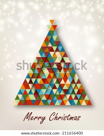 Christmas tree with retro colors background Vector illustration Light effects and shadows can be turned off for a flat card