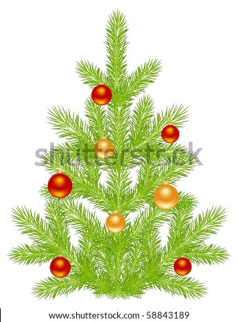 Christmas tree with simple decoration. Isolated on a white. Vector illustration.