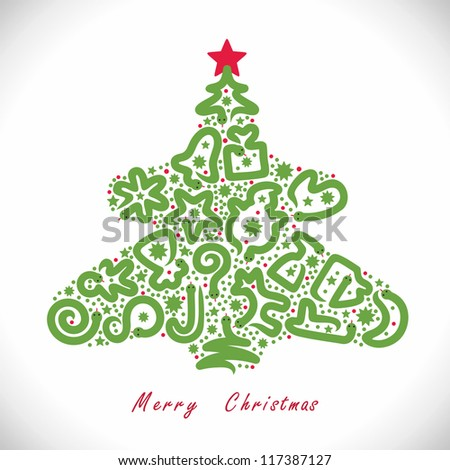 Christmas Tree With Snakes - stock vector