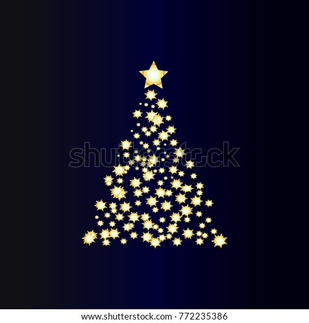 Christmas tree with stars #772235386