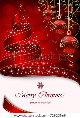 Christmas tree with stars and balls on red background, illustration
