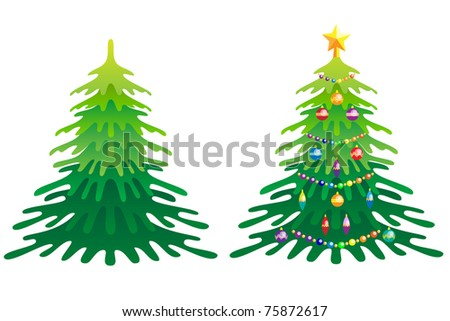 Christmas Tree without Christmas decorations and with Christmas decorations