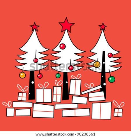 Christmas trees - stock vector