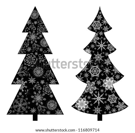 Christmas trees, holiday symbol, black silhouette on white background, with contours snowflakes and flowers. Vector