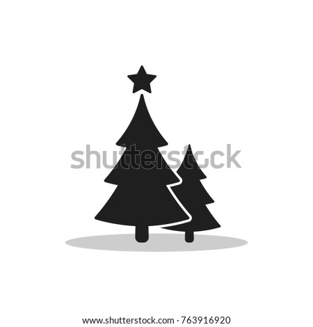 Christmas trees icon, vector flat design. Black symbol of two fir-tree isolated on white background.