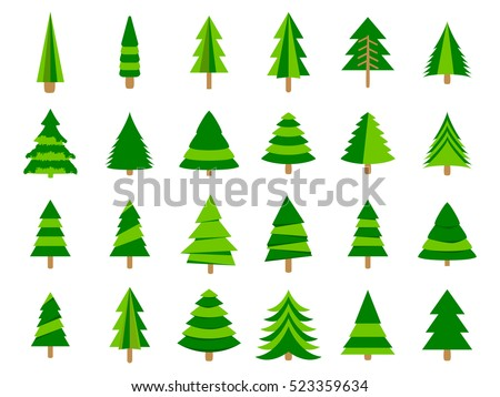 Christmas trees in a flat style. Firs isolation on a white background. Vector icons.