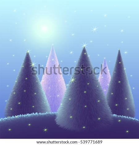 Christmas trees on blue background landscape with stars. Magic forest  in the night sky. Vector illustration greeting card Merry Christmas and Happy New Year. Template.