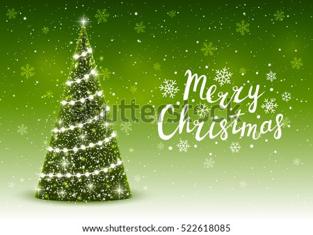 christmas trees on shiny green