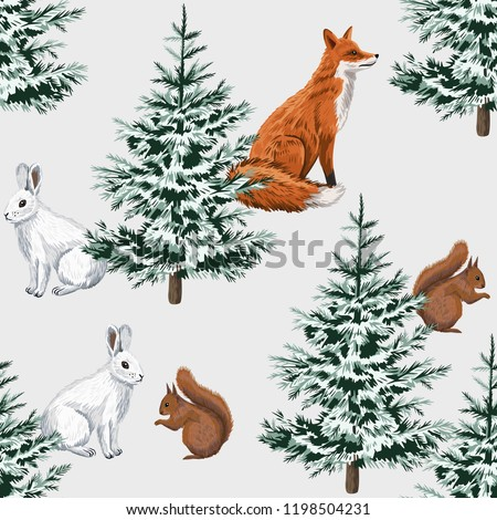 Christmas trees, red fox, white rabbit and squirrel floral seamless pattern grey background. Winter forest  wallpaper.
