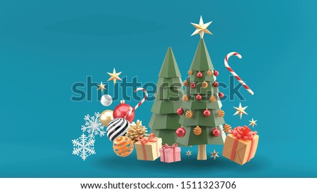 Christmas trees surrounded by gift boxes, crystal balls, candies and snow on a blue background.