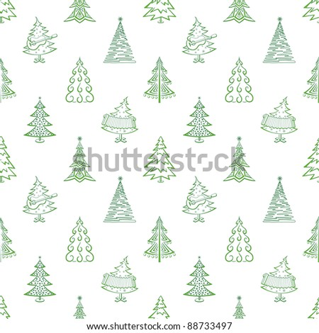 Christmas trees, winter holiday symbols, seamless background. Vector