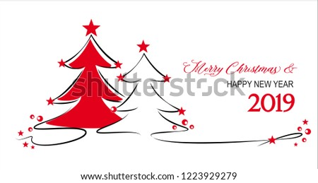 christmas trees with red stars