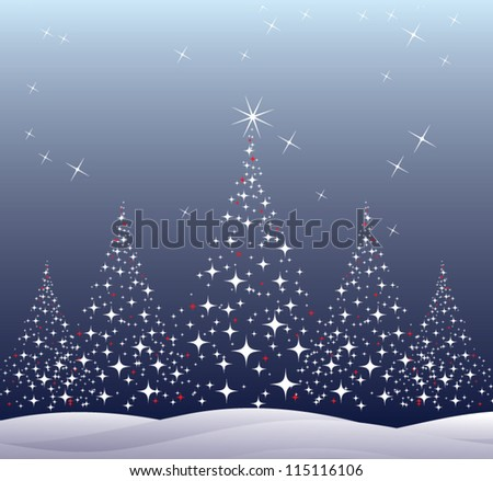 christmas trees with snow and night sky with stars - stock vector