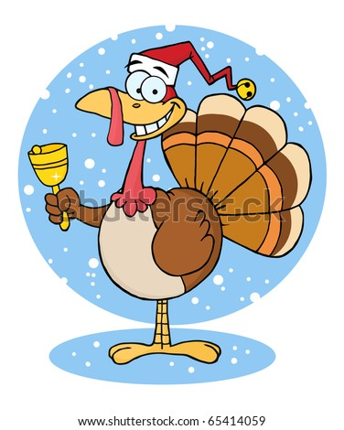 Christmas Turkey Cartoon Character Ringing A Bell
