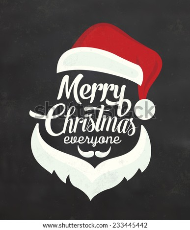 Christmas Typographic Background / Merry Christmas / Santa