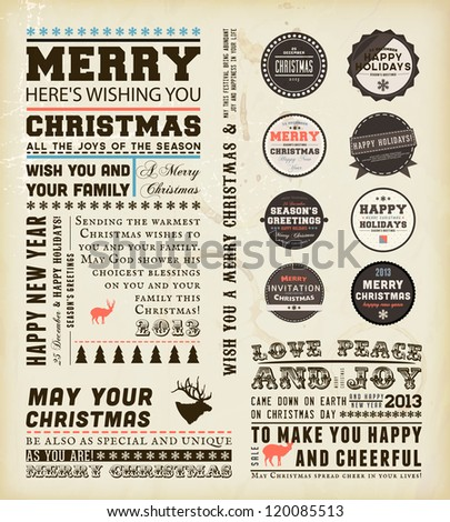 Christmas typography decoration collection | Set of calligraphic and typographic elements, frames, vintage labels and borders. Floral ornaments and old paper texture. All for holiday invitation design