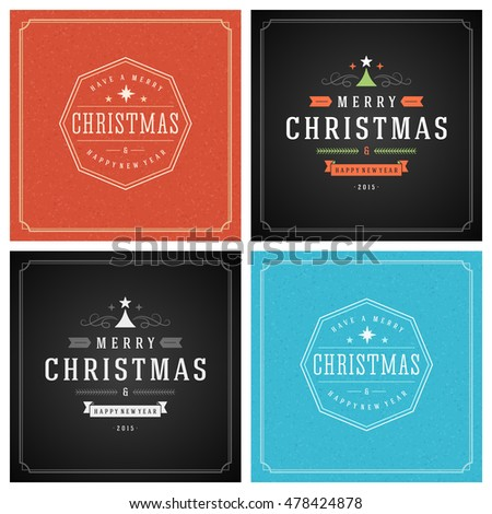 Christmas Typography Greeting Cards Design Set. Merry Christmas and Holidays wishes retro style vintage ornament decoration. Texture Snowflakes pattern background and Frame Vector illustration EPS 10. #478424878