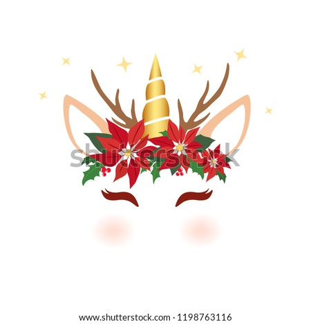 Christmas unicorn face. Cute unicorn character vector graphic design for Christmas. Cartoon reindeer unicorn head with poinsettia flower, holly crown and antlers. Christmas holiday card.