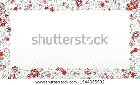 Christmas  Vector Background with Falling Glitter Snowflakes and Stars. Isolated on Transparent. Miracle Snow Confetti Pattern. Glitter Overlay Print. Winter Sky. Design for Cover. #1544335502