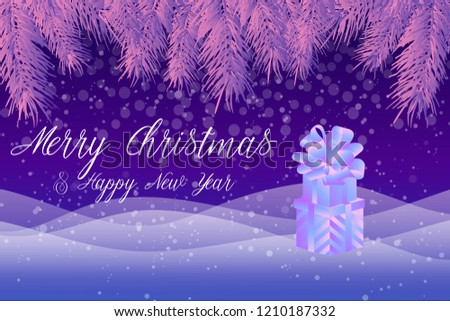 Christmas vector background with snowflakes, Christmas tree branches, gift boxes. Sparkling background banner template, poster, invitation, congratulations.  #1210187332