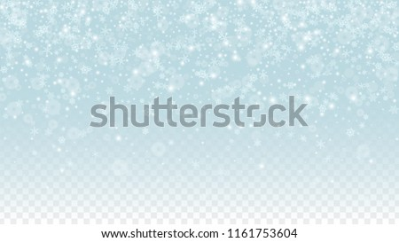 Christmas  Vector Background with White Falling Snowflakes Isolated on Transparent Background. Realistic Snow Sparkle Pattern. Snowfall Overlay Print. Winter Sky. Design for  Poster.