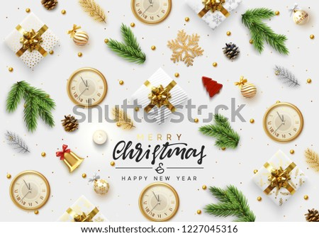 Christmas vector background. Xmas realistic decoration objects viewed from above. Text Merry Christmas and happy New Year