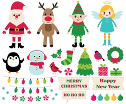 Christmas vector cartoon design elements set (Santa, elf, snowman, angel and more)