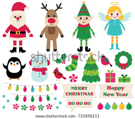 Christmas vector cartoon design elements set (Santa, elf, snowman, angel and more)