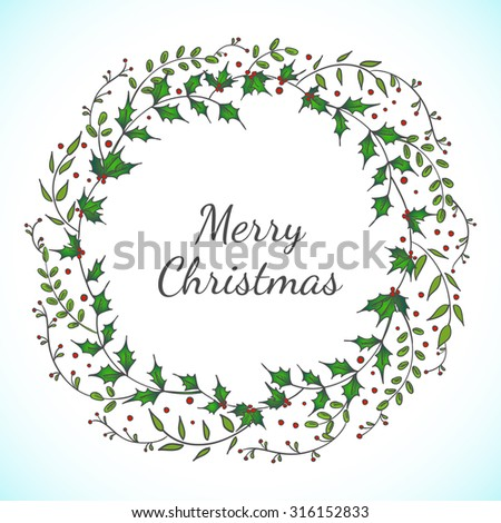 Christmas vector floral wreath with leaves and berries. Design for invitation or greeting cards