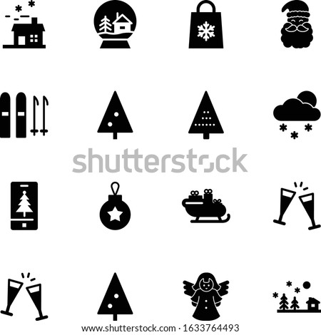 christmas vector icon set such as: card, scene, hand, peace, mountain, time, home, set, alpine, man, snowflake, athlete, sketch, snowglobe, city, skier, beard, skis, village, guardian, infographic