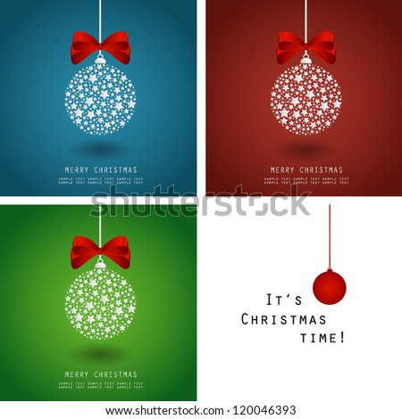Christmas vector illustration - bauble made of stars with ribbon - set